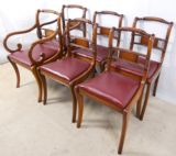Set of Six Mahogany Regency Style Sabre Leg Dining Chairs